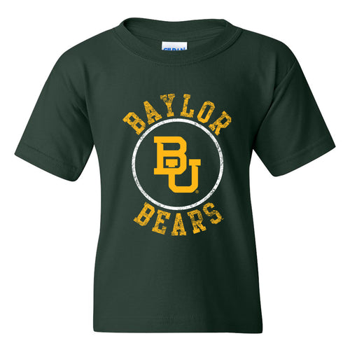 Baylor University Bears Distressed Circle Logo Youth Short Sleeve T Shirt - Forest