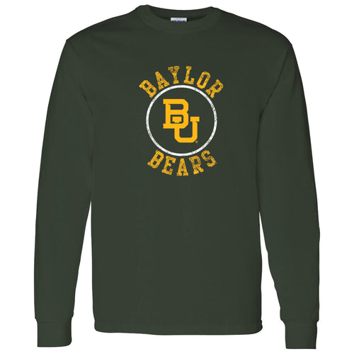 Baylor University Bears Distressed Circle Logo Long Sleeve T Shirt - Forest