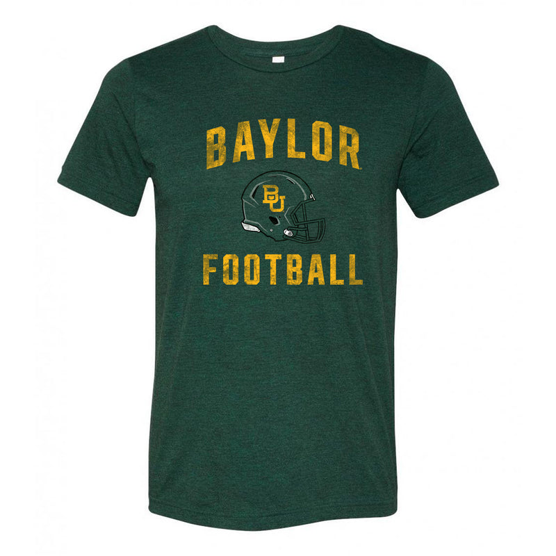 Baylor University Bears Faded Football Helmet Canvas Triblend T Shirt - Emerald Triblend