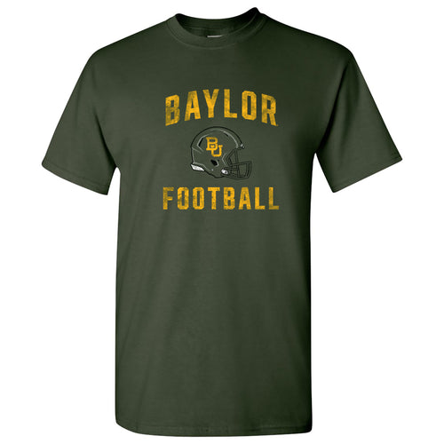 Baylor University Bears Faded Football Helmet Basic Cotton Short Sleeve T Shirt - Forest