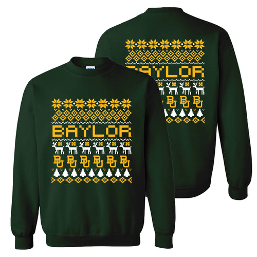 Baylor University Bears Ugly Holiday Sweater Crewneck - Forest