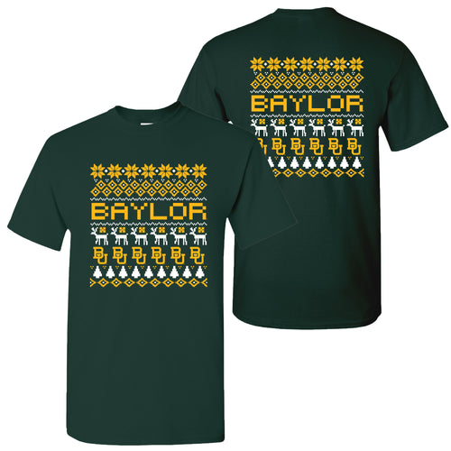 Baylor University Bears Ugly Holiday Sweater Short Sleeve T Shirt - Forest