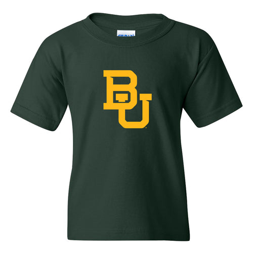 Baylor University Interlocking BU Logo Youth Short Sleeve T Shirt - Forest