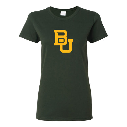 Baylor University Bears Interlocking BU Womens Short Sleeve T Shirt - Forest
