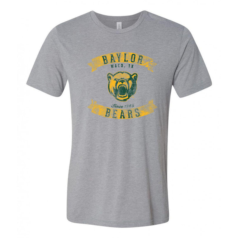 Baylor Bears Vintage Banners Football Canvas Triblend T Shirt - Athletic Grey Triblend