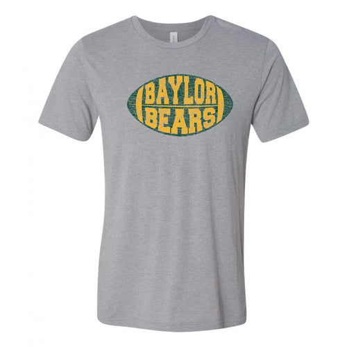 Baylor University Bears Faded Block Football Canvas Triblend T Shirt - Athletic Grey Triblend
