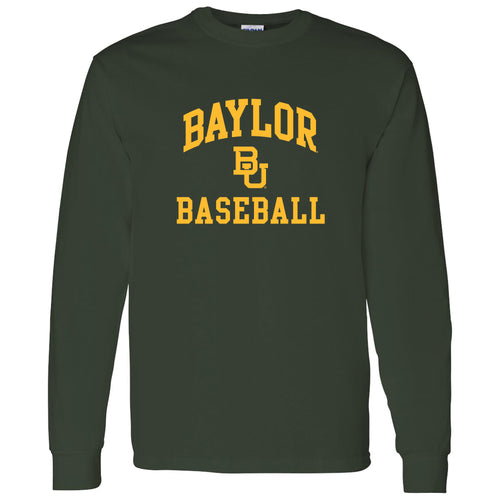Baylor University Bears Arch Logo Baseball Long Sleeve T-Shirt - Forest