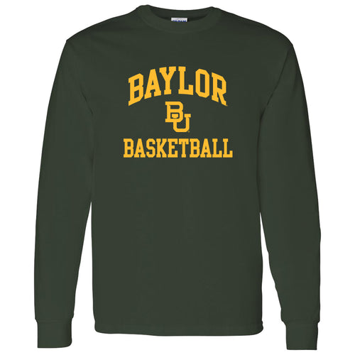 Baylor University Bears Arch Logo Basketball Long Sleeve T-Shirt - Forest