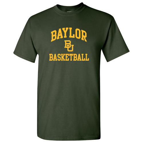 Baylor University Bears Arch Logo Basketball Short Sleeve T Shirt - Forest