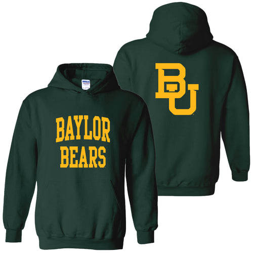 Baylor University Bears Front Back Print Hoodie - Forest