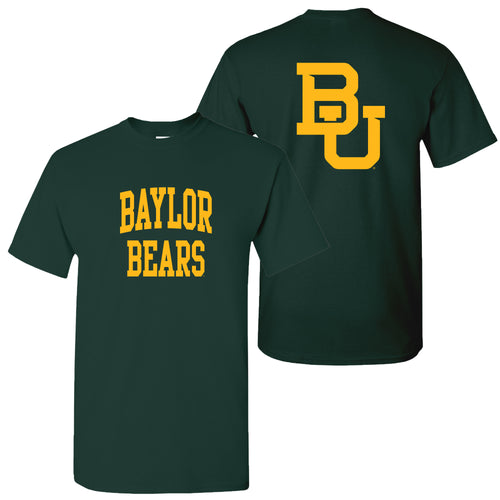 Baylor University Bears Front Back Print Short Sleeve T Shirt - Forest