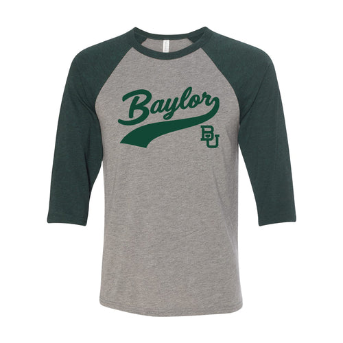 Baylor University Bears Baseball Jersey Script Raglan - Heather Grey/Heather Dark Green