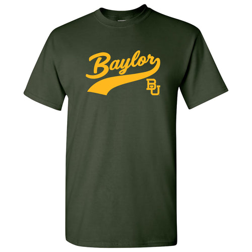 Baylor University Bears Baseball Jersey Script Short Sleeve T-Shirt - Forest