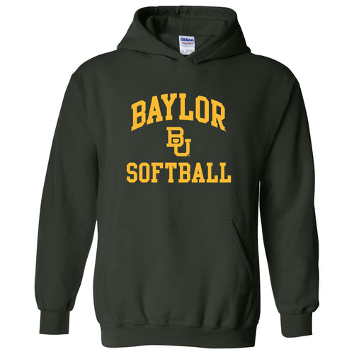 Baylor University Bears Arch Logo Softball Heavy Blend Hoodie - Forest