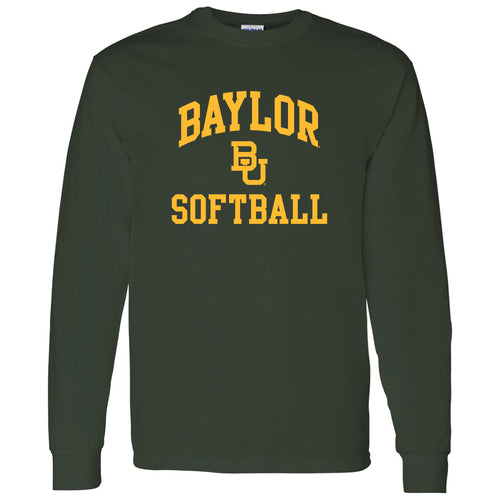 Baylor University Bears Arch Logo Softball Long Sleeve T-Shirt - Forest
