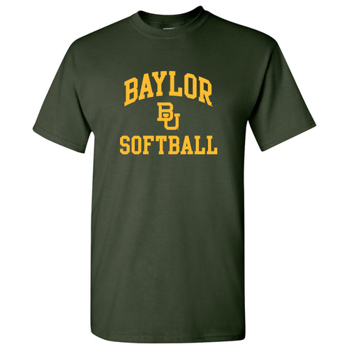 Baylor University Bears Arch Logo Softball Short Sleeve T Shirt - Forest