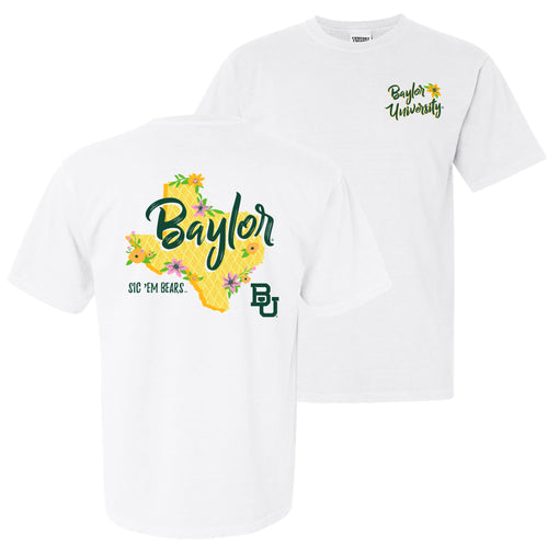 Baylor University Bears Floral State Comfort Colors Short Sleeve T Shirt - White