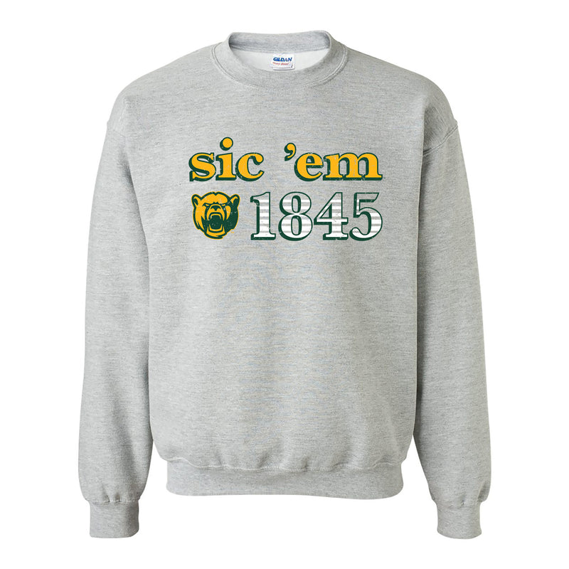 Baylor University Bears Throwback Year Stripe Heavy Blend Crewneck - Sport Grey