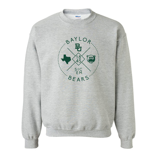 Baylor University Bears Identity Stamp Heavy Blend Crewneck - Sport Grey