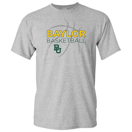 Baylor University Bears Basketball Sketch Basic Cotton Short Sleeve T Shirt - Sport Grey