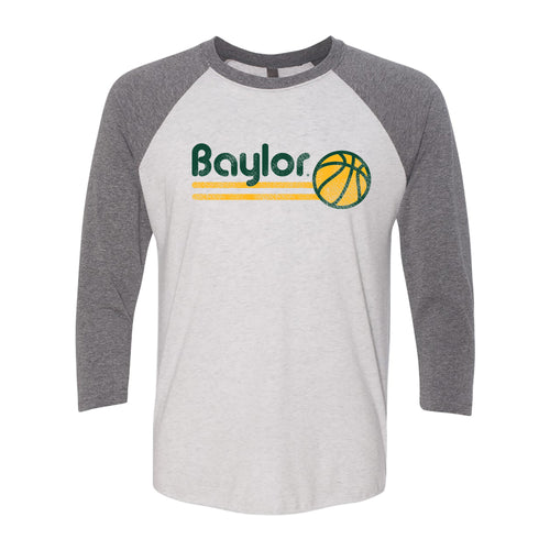 Baylor University Bears Basketball Bubble Next Level Raglan T Shirt - Heather White/Premium Heather