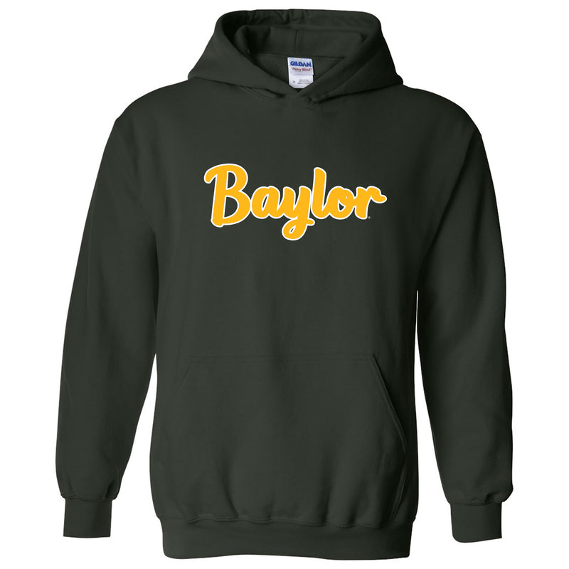 Baylor University Bears Basic Script Heavy Blend Hoodie - Forest