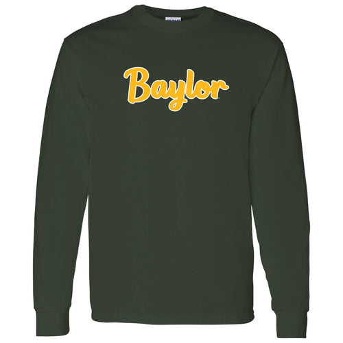 Baylor University Bears Basic Script Cotton Long Sleeve T Shirt - Forest