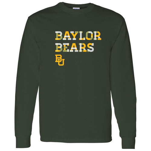 Baylor Bears Patchwork Cotton Long Sleeve T Shirt - Forest