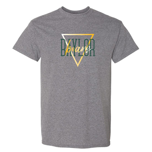 Baylor University Bears Gradient Triangle Basic Cotton Short Sleeve T Shirt - Graphite Heather