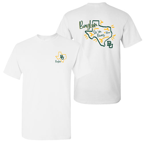 Baylor University Bears Playful Sketch Basic Cotton Short Sleeve T Shirt - White