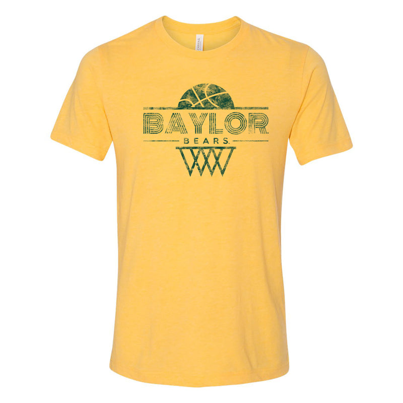 Baylor University Bears Oblique Hoop Canvas Triblend Short Sleeve T-Shirt - Yellow Gold