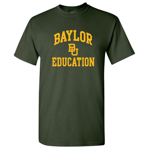 Baylor University Bears Arch Logo Education Basic Cotton Short Sleeve T Shirt - Forest