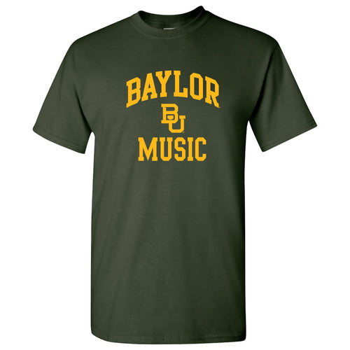 Baylor University Bears Arch Logo Music Basic Cotton Short Sleeve T Shirt - Forest