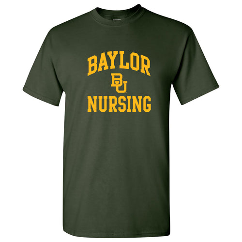 Baylor University Bears Arch Logo Nursing Basic Cotton Short Sleeve T Shirt - Forest