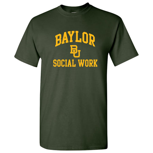Baylor University Bears Arch Logo Social Work Basic Cotton Short Sleeve T Shirt - Forest
