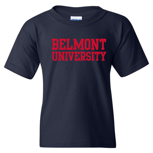Belmont University Bruins Basic Block Youth Basic Cotton Short Sleeve T Shirt - Navy