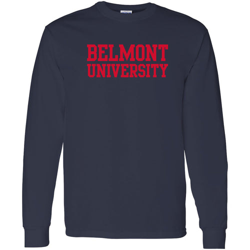 Belmont University Bruins Basic Block Heavy Blend Long Sleeve T-Shirt - Navy