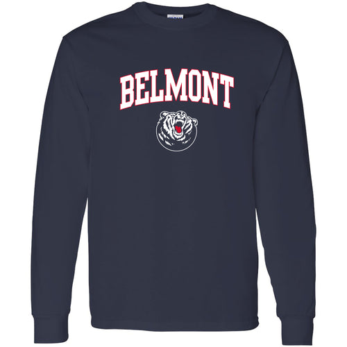 Belmont University Bruins Arch Logo  Basic Cotton Long Sleeve T-Shirt - Navy