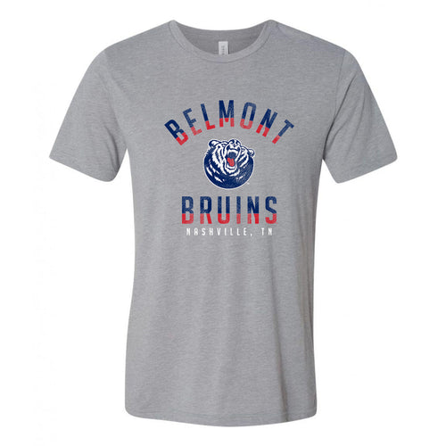 Belmont University Burins Division Arch Canvas Triblend Short Sleeve T Shirt - Athletic Grey