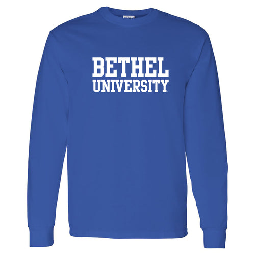 Bethel University Pilots Basic Block Long Sleeve T Shirt - Royal