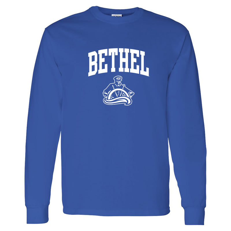Bethel University Pilots Arch Logo Long Sleeve T Shirt - Royal