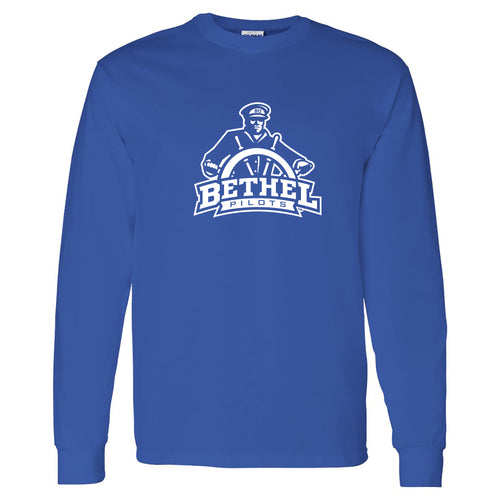 Bethel University Pilots Primary Logo Long Sleeve T Shirt - Royal