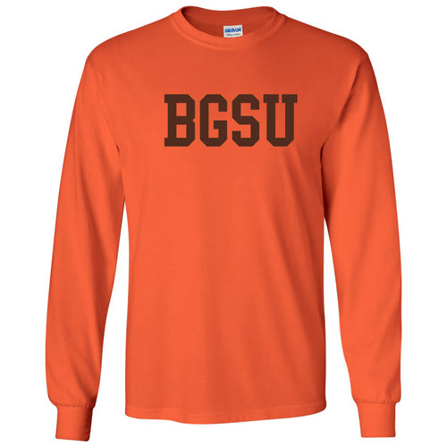 Bowling Green State University Falcons Basic Block Cotton Long Sleeve T Shirt - Orange