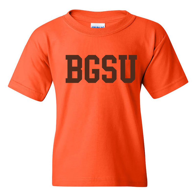 Bowling Green State University Falcons Basic Block Youth Cotton Short Sleeve T Shirt - Orange