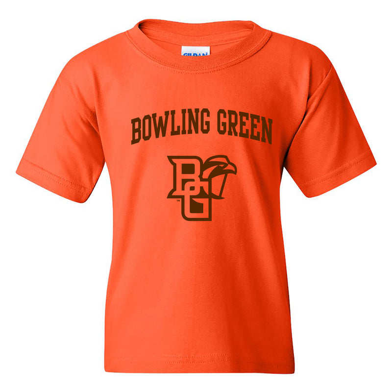 Bowling Green State University Falcons Arch Logo Youth Cotton Short Sleeve T Shirt - Orange