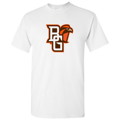 Bowling Green State University Falcons Primary Logo Cotton Short Sleeve T Shirt - White
