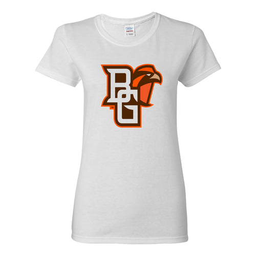 Bowling Green State University Falcons Primary Logo Womens Cotton Short Sleeve T Shirt - White