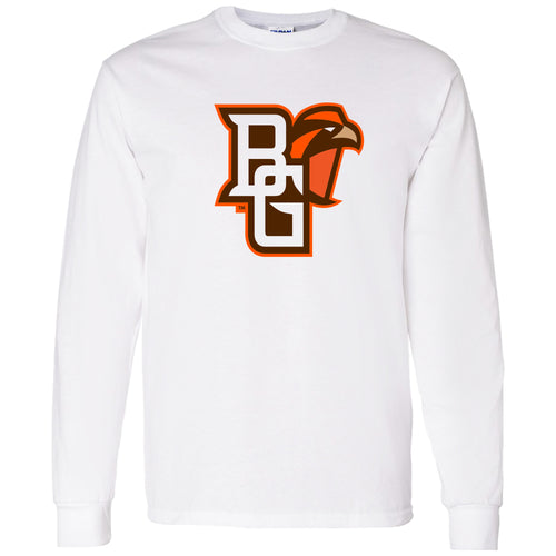 Bowling Green State University Falcons Primary Logo Cotton Long Sleeve T Shirt - White