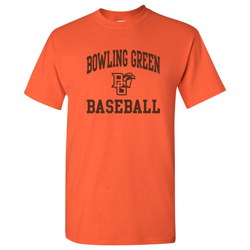 Bowling Green State University Falcons Arch Logo Baseball Basic Cotton Short Sleeve T Shirt - Orange