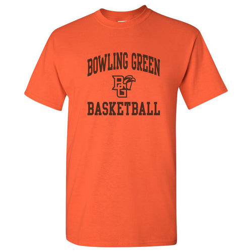 Bowling Green State University Falcons Arch Logo Basketball Basic Cotton Short Sleeve T Shirt - Orange